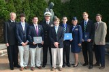 On May 4, CBHS celebrated the military academy appointments of five students with an official ceremony held on the school's campus. Attending were (from left) Brother Chris Englert, F.S.C., president of Christian Brothers High School; Zach Landers; Ben Smith; Commander Steve Skretkowicz, U.S. Navy Navy ROTC -- Midsouth Region; Zach Johnson; Michael Padilla; Lieutenant Colonel Holly Devoto U.S. Air Force Academy and Air Force ROTC (Region 1) Admissions Liaison Officer; Riley Bartlett; and CBHS principal Chris Fay.