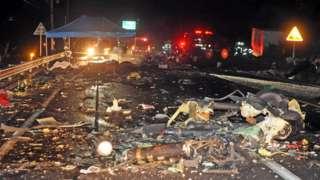 Helicopter wreckage in Wonju, South Korea